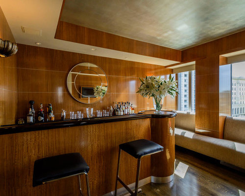 trendy single wall seated home bar photo in san francisco with granite