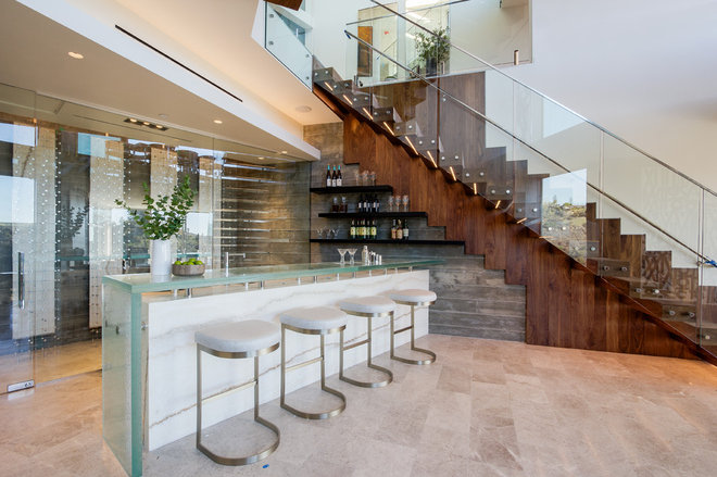 Contemporary Home Bar by michelle ruben interiors