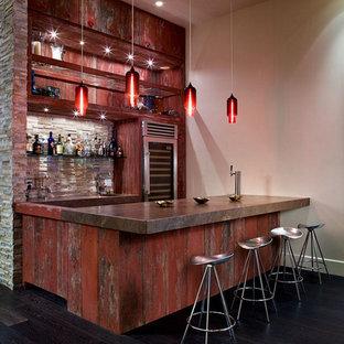 Industrial Hausbar Mit Kuchenruckwand In Beige Ideen Design