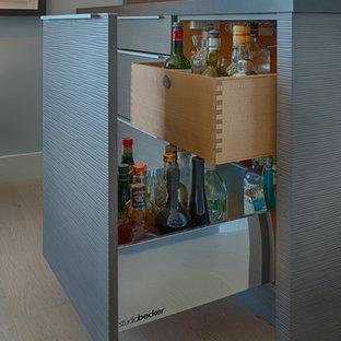 Foto di un piccolo angolo bar con lavandino design con ante lisce e ante grigie