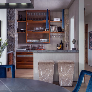 Seated Home Bar Rustic Light Wood Floor And Beige Idea In