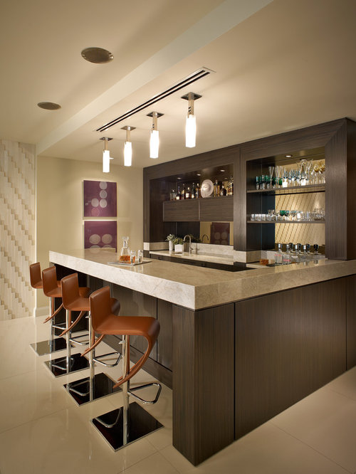 Contemporary home bar design ideas remodels photos - Bar counter designs small space minimalist ...