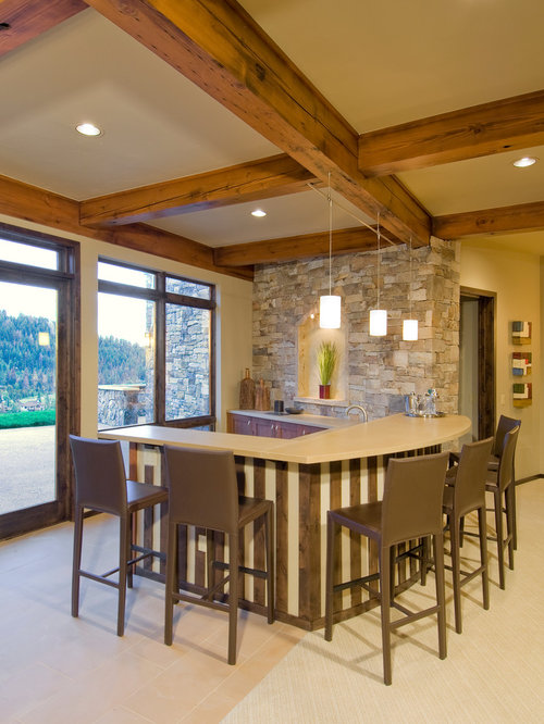 Stone And Wood Make A Dark Masculine Interior: Interior Stone Wall