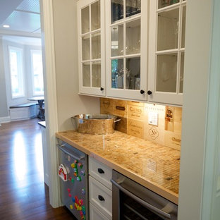 This is an example of a medium sized rural galley wet bar in Chicago with shaker cabinets, white cabinets, beige splashback, medium hardwood flooring, brown floors and beige worktops.
