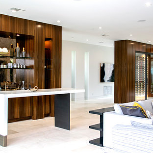 Inspiration For A Large Contemporary Home Bar Remodel In Orange County With  Flat Panel Cabinets