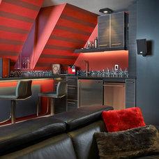 Contemporary Home Theater by Maria Deschamps Design