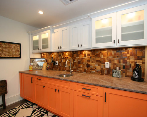 Traditional Home Bar Design Ideas Remodels Photos With Orange Cabinets