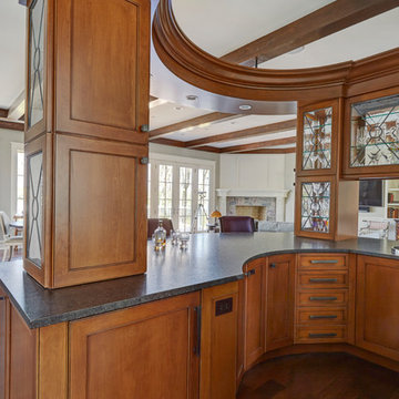 Curved Wet Bar with Lake Views