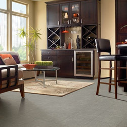 CushionStep Vinyl Sheet - This vinyl sheet CushionStep flooring from Armstrong is shown in Heatherfield Tweed - Silver Screen. CushionStep floors are one of our most popular collections and deliver style, durability, and comfort. Now with NEW designs and colors in tweed, travertine, and wood look! Armstrong World Industries, Inc.