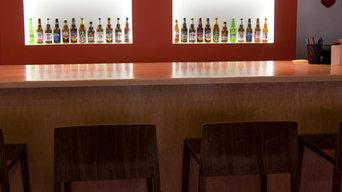 Custom Bar Area, Liquor Display with LED Lighting