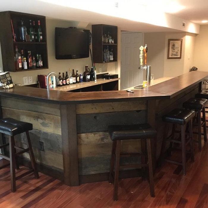 Custom Bar with Reclaimed Wood