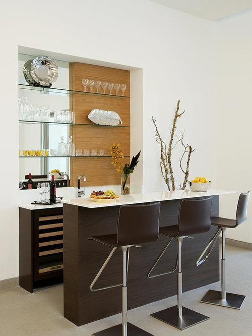 Inspiration For A Contemporary Seated Home Bar Remodel In New York With  Open Cabinets, Mirror Part 40