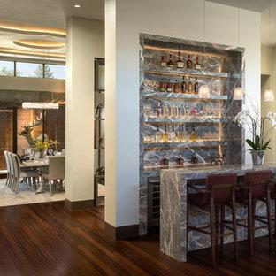 Foto di un bancone bar minimal di medie dimensioni con nessun lavello, ante lisce, ante grigie, top in marmo, paraspruzzi grigio, paraspruzzi in lastra di pietra e pavimento in bambù