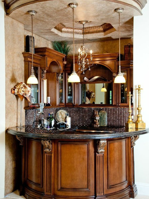 Traditional Home Bar Design Ideas Renovations Photos With Brown Cabinets