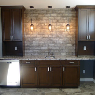 Wet Bar Small Transitional Single Wall Porcelain Floor Idea In Other With