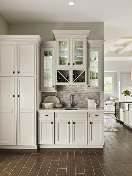 small elegant single wall porcelain floor and brown floor wet bar photo in other with - Small Home Bar Design