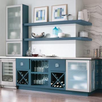 Decorá Cabinets: Wet Bar in Modern Blue Kitchen