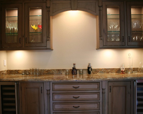 Home Bar Design Ideas Remodels Photos With Distressed Cabinets And No Sink