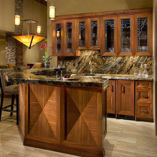 Seated home bar - mid-sized contemporary u-shaped travertine floor and beige floor seated home bar idea in Phoenix with an undermount sink, shaker cabinets, medium tone wood cabinets, multicolored backsplash and stone slab backsplash