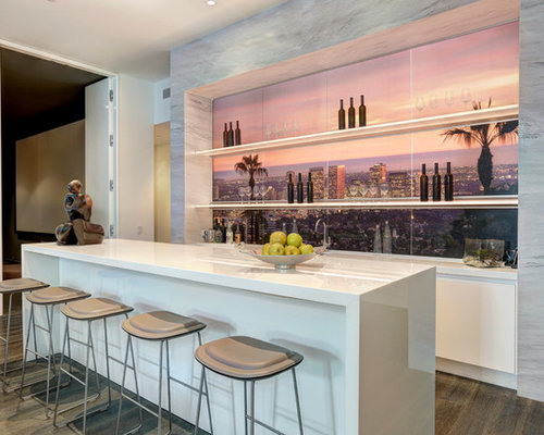 contemporary homes interior designs. Contemporary dark wood floor seated home bar idea in Los Angeles with white  cabinets Home Design Photos Decor Ideas