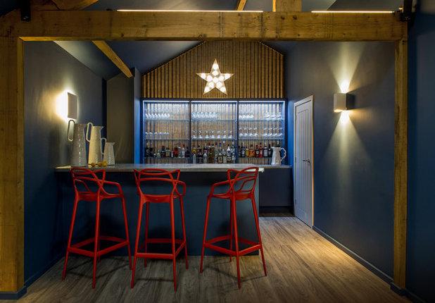 Rustic Home Bar by Velvet & Dash Interiors