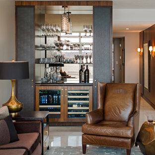 Example of a small trendy single-wall wet bar design in San Diego with no sink, medium tone wood cabinets, mirror backsplash and open cabinets