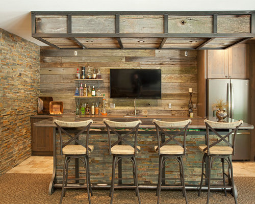 Design Ideas For An Expansive Rustic Home Bar In Minneapolis With Carpet.