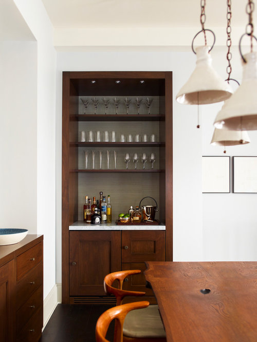 Small Home Bar on transitional office design