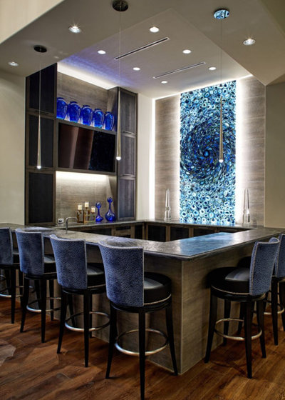 Contemporary Home Bar by Harry J Crouse Design Inc