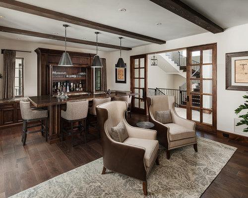 Seated Home Bar   Mid Sized Mediterranean Single Wall Dark Wood Floor And  Brown