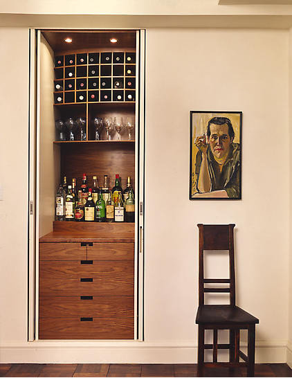 Contemporary home bar eclectic hall for How to build a mini bar cabinet