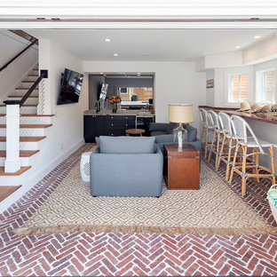 Example of a small eclectic l-shaped wet bar design in Boston with an undermount sink, shaker cabinets, black cabinets, marble countertops, gray backsplash and stone slab backsplash
