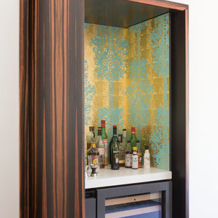 Small trendy single-wall home bar photo in San Francisco with multicolored backsplash