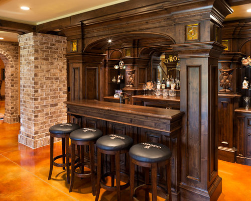 Example Of A Large Classic Galley Seated Home Bar Design In Minneapolis  With Concrete Floors,