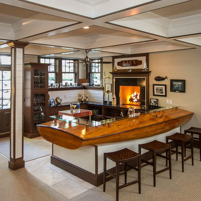 Inspiration for a large coastal u-shaped porcelain tile seated home bar remodel in Chicago with open cabinets, dark wood cabinets, wood countertops, white backsplash, wood backsplash and brown countertops