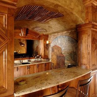 Inspiration For A Mediterranean Galley Beige Floor Wet Bar Remodel In Other With An Undermount Sink