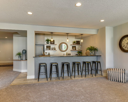 Mid Sized Farmhouse Galley Porcelain Floor And Brown Wet Bar Idea In Minneapolis With