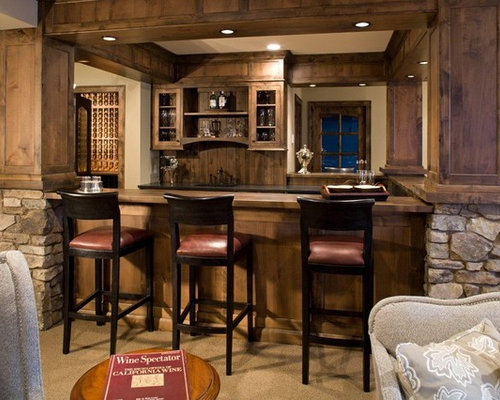 Rustic minneapolis home bar design ideas remodels photos - Rustic basement bar designs ...