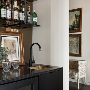 Example Of A Small Trendy Single Wall Dark Wood Floor Wet Bar Design In Seattle