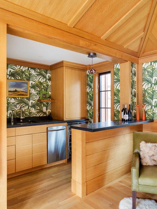 Wet Bar   Tropical Light Wood Floor And Beige Floor Wet Bar Idea In Boston  With