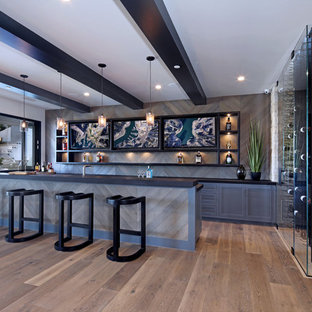 Example Of A Mid Sized Trendy Home Bar Design In Los Angeles