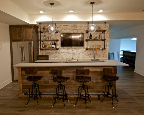 Example Of A Mid Sized Mountain Style Galley Light Wood Floor Seated Home  Bar Design