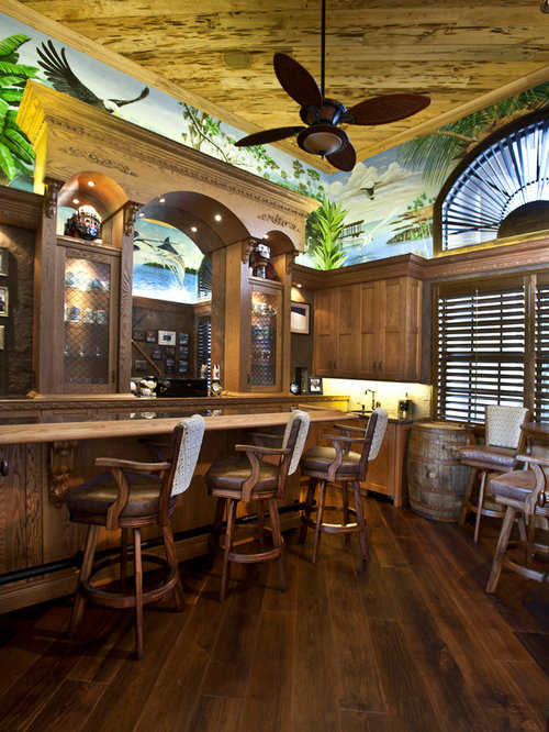 tropical home bar design ideas renovations photos with dark wood cabinets