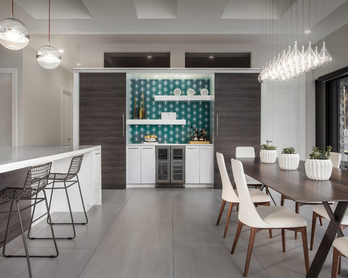 Inspiration For A Contemporary Single Wall Gray Floor Home Bar Remodel In  Miami With No