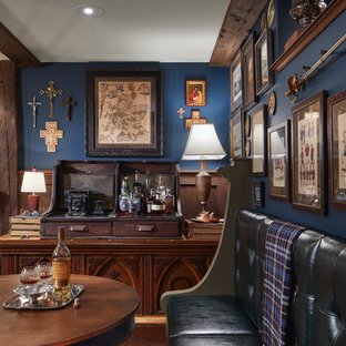 Example Of A Classic Dark Wood Floor And Brown Floor Home Bar Design In  Minneapolis With