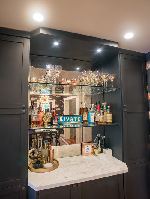 Black Home Bar Design Ideas, Remodels & Photos with Gray Cabinets