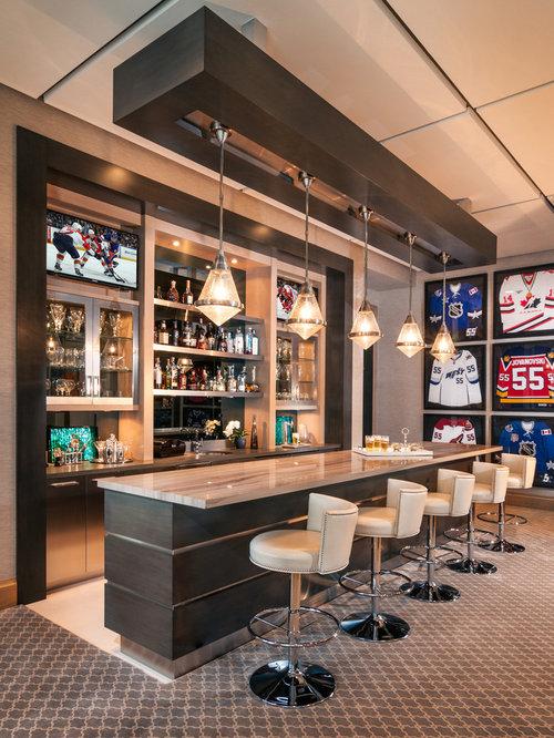 bar de salon contemporain avec un bar boissons photos. Black Bedroom Furniture Sets. Home Design Ideas