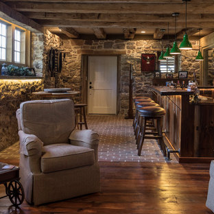 Inspiration for a farmhouse home bar remodel in Other