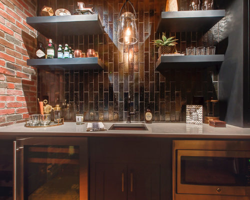 Example Of A Small Urban Galley Dark Wood Floor And Brown Floor Wet Bar  Design In
