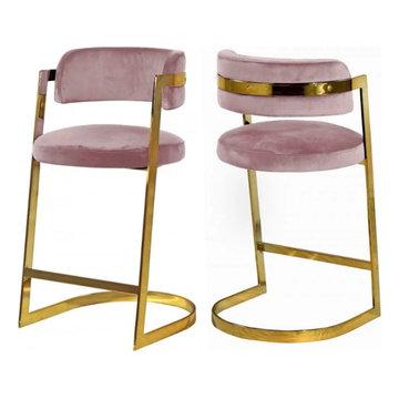 Gold & Velvet Pink Counter Stool